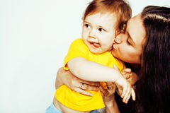 Bright picture of hugging mother and daughter happy together, smiling stylish family. lifestyle people concept Stock Photos