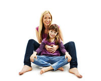 Bright picture of hugging mother and daughter Royalty Free Stock Photo