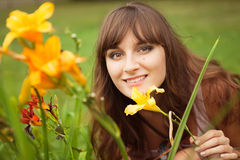 Bright picture of lovely brunette woman Royalty Free Stock Photography