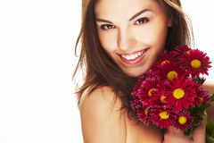 Bright picture of lovely girl with flower Royalty Free Stock Photos