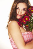 Bright picture of lovely girl with flower