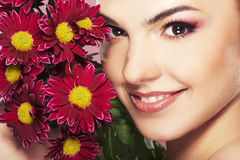 Bright picture of lovely girl with flower Stock Photos