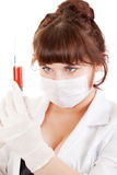 Bright picture of lovely nurse taking blood Stock Image