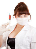 Bright picture of lovely nurse taking blood Stock Photo