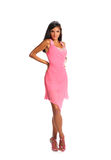 Bright picture of lovely woman in elegant pink dress Royalty Free Stock Images