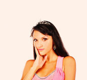 Bright picture of lovely woman in elegant princess crown on head Royalty Free Stock Photo