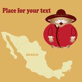 Bright picture of a man from Mexico  Vector  Your text Royalty Free Stock Photos
