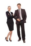 Bright picture of man and woman in formal clothes. Royalty Free Stock Photo