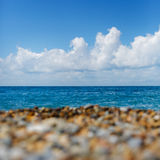 Bright picture of seashore with blue sky and  sea Stock Photo