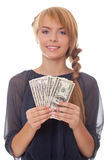 Bright picture smiling teenager with money Royalty Free Stock Images