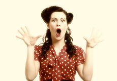 Bright picture of surprised woman face over white Royalty Free Stock Photos
