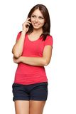 Bright picture of young woman talking on cellphone Royalty Free Stock Photos