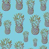 Bright pineapple pattern in 3d style stock photo