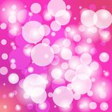 Bright pink celebration background with bokeh and blurring effect. Bright pink abstract background with bokeh effect and bright lights for festival and stock illustration
