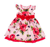 Bright pink baby dress in floral print Royalty Free Stock Photo