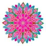 Bright pink and blue mandala on the white background. Stock Images