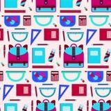 Bright pink and blue school equipment pattern vector illustration