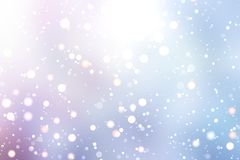 Bright pink blue winter background. Snow falls on the blur texture. Stock Image