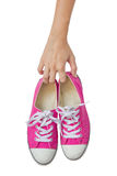 Bright Pink Canvas Shoes Handle. Royalty Free Stock Images