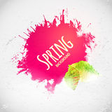 Bright pink colors ink spot with leaves, hand drawing art Royalty Free Stock Images