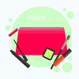 Bright pink cosmetic bag. Cosmetic bag with tools for professional make-up: lipstick, mascara, eyeshadow and cosmetic. Bright pink cosmetic bag. Cosmetic bag Royalty Free Stock Images