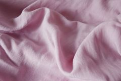 Bright pink cotton fabric and has a soft ripple , Top view with copy space. Royalty Free Stock Photos