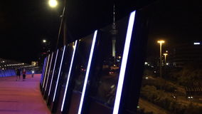 Bright pink cycleway at night in Auckland New Zealand stock footage