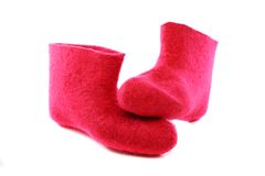 Bright pink felt boots. Royalty Free Stock Photography