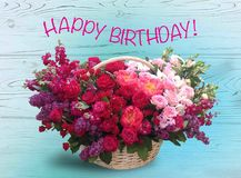 Bright pink festive english festive roses in a basket on a background of blue boards. Happy birthday Stock Photography