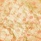 Bright pink flowers  on crumbled paper Stock Images