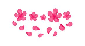 Bright Pink flowers and flying petals isolated on White background. Apple-tree flowers. Cherry blossom. Vector EPS 10 cmyk.  Royalty Free Stock Photos