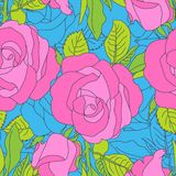 Bright pink flowers pattern on blue background stock illustration