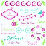 Bright pink green and blue Interesting elements for wedding invitation vector. Interesting elements for wedding invitations with flags, bright inscriptions Stock Images