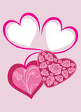Bright pink hearts to the Valentines day. Greeting card Royalty Free Stock Photo