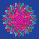 Bright pink mandala on the blue background.  round element Royalty Free Stock Image