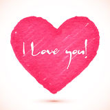 Bright pink marker textured vector heart Stock Image