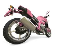 Bright pink modern motorcycle - rear wheel closeup shot. Isolated on white background stock photo