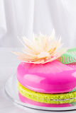 Bright pink mousse cake with mirror glaze Stock Images