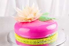 Bright pink mousse cake with mirror glaze Stock Photography