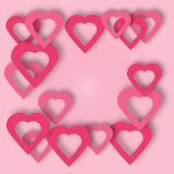 Bright pink paper hearts vector background. Beautiful hearts vector background or card. Bright pink paper hearts template for banner, flyer, wedding Royalty Free Stock Photos