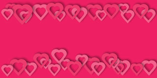 Bright pink paper hearts vector background. Beautiful hearts vector background or card. Bright pink paper hearts template for banner, flyer, wedding Stock Images