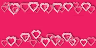 Bright pink paper hearts vector background. Beautiful hearts vector background or card. Bright pink paper hearts template for banner, flyer, wedding Royalty Free Stock Image