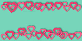 Bright pink paper hearts vector background. Beautiful hearts vector background or card. Bright pink paper hearts template for banner, flyer, wedding Stock Image