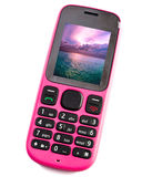 Bright pink phone with the sea photo Royalty Free Stock Photos