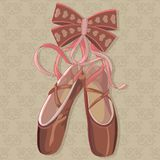 Vector illustration hanging pink ballet pointe. Stock Images