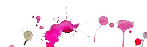 Bright pink and purple watercolor splashes and blots on white background. Ink painting. Hand drawn illustration. Abstract. Pink watercolor splashes and blots on Royalty Free Stock Images