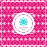 Bright pink seamless background. Stylized lace ornament. Company geometric logo. Stock Photography