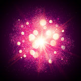 Bright pink shining fireworks explosion at black. Bright pink shining vector fireworks explosion at black background Royalty Free Stock Photo