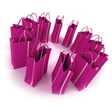 Bright pink Shopping bags in a circle. 3D rendering of pink striped shopping bags forming a circle against a white background Stock Photo