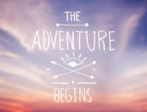 Bright Pink Sky with Adventure Quote Stock Photo